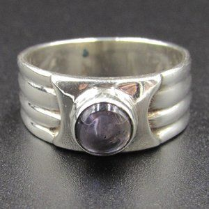 Size 6.75 Sterling Uncut Amethyst Unique Band Ring